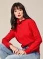 Agenda Dik Yaka Poplin Bluz Kırmızı